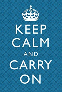 Keep Calm Carry On Motivational Inspirational WWII British Morale Blue Plaid Cool Wall Decor Art Print Poster 24x36