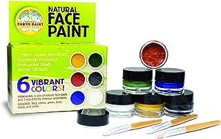 Natural Earth Paint - Maquillaje, Pintura de la Cara Natural y no tóxico - con 6 o 4 Colores y 1 o 3 Pinceles - Creativo y sostenible (Medium Kit (6 Colores))