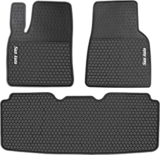 HD-Mart Car Floor Mats Custom Fit for Tesla Model S 2016 2017 2018 2019 Black White Rubber Car Floor Liners Set All Weather Protection Heavy Duty Odorless