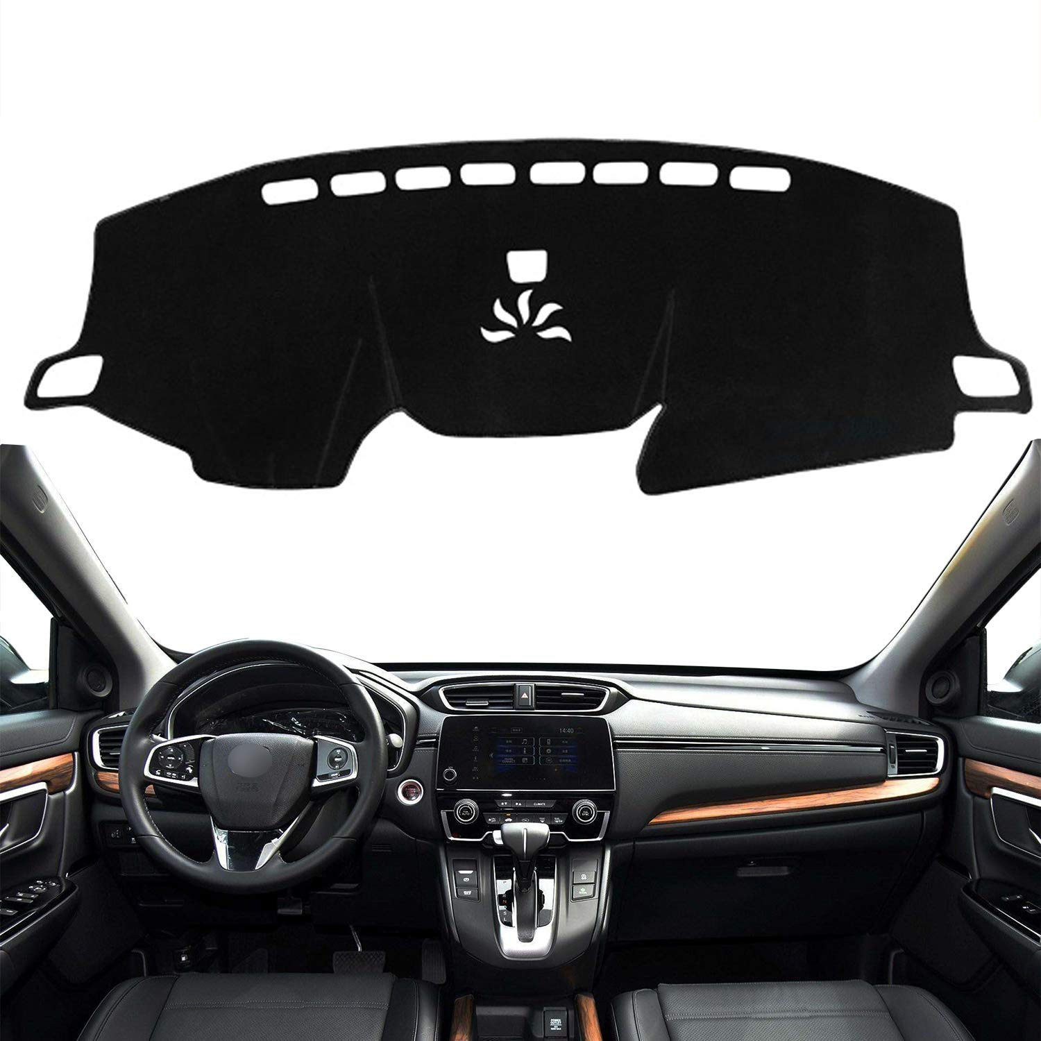 Custom Fit Dashboard Black Center Console Cover Dash Mat Protector Sunshield Cover for 2017 2018 2019 Honda CRV CR-V SUV without HUD AutofitPro