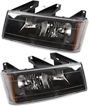 Headlights Headlamps with Black Bezels Pair Set Replacement for Chevrolet Colorado GMC Canyon Isuzu Pickup Truck 20766569 20766570