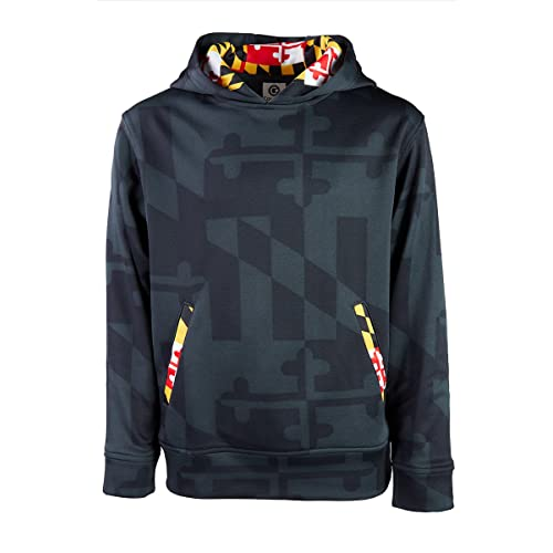 8b9c109c53 Maryland Flag Printed Souvenir Gift Youth-Sized Hoody with Front Kangaroo  Pocket Graphite Black