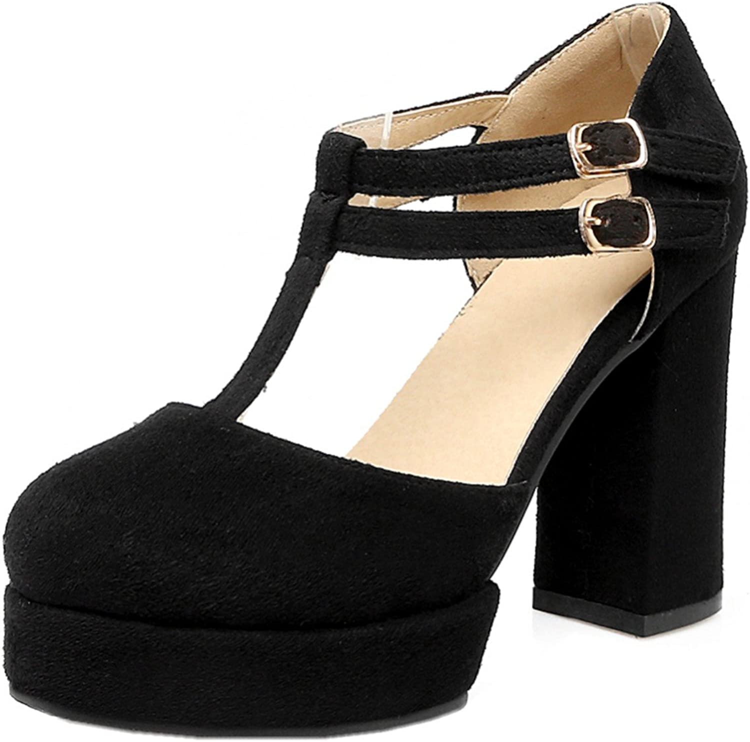 Rongzhi Womens Suede Heeled Sandals High Heels Ankle T-Strap Buckle Block Heel Platform shoes Round Toe