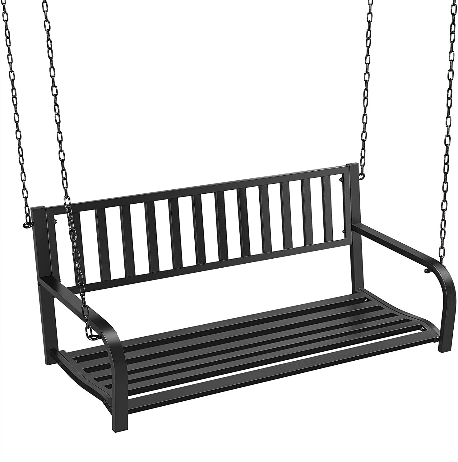 Max 42% OFF Topeakmart Hanging Porch Swing Bench Credence Outdoor Metal 2-Person Iro
