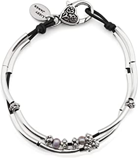 Lucy Anklet in Natural Black Leather Silver Plate Crescents and Freshwater Pearls