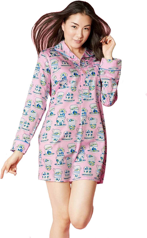 BedHead Pajamas Pink Cuppa Tea Sateen L S Pleated Nightshirt 1231CL76045