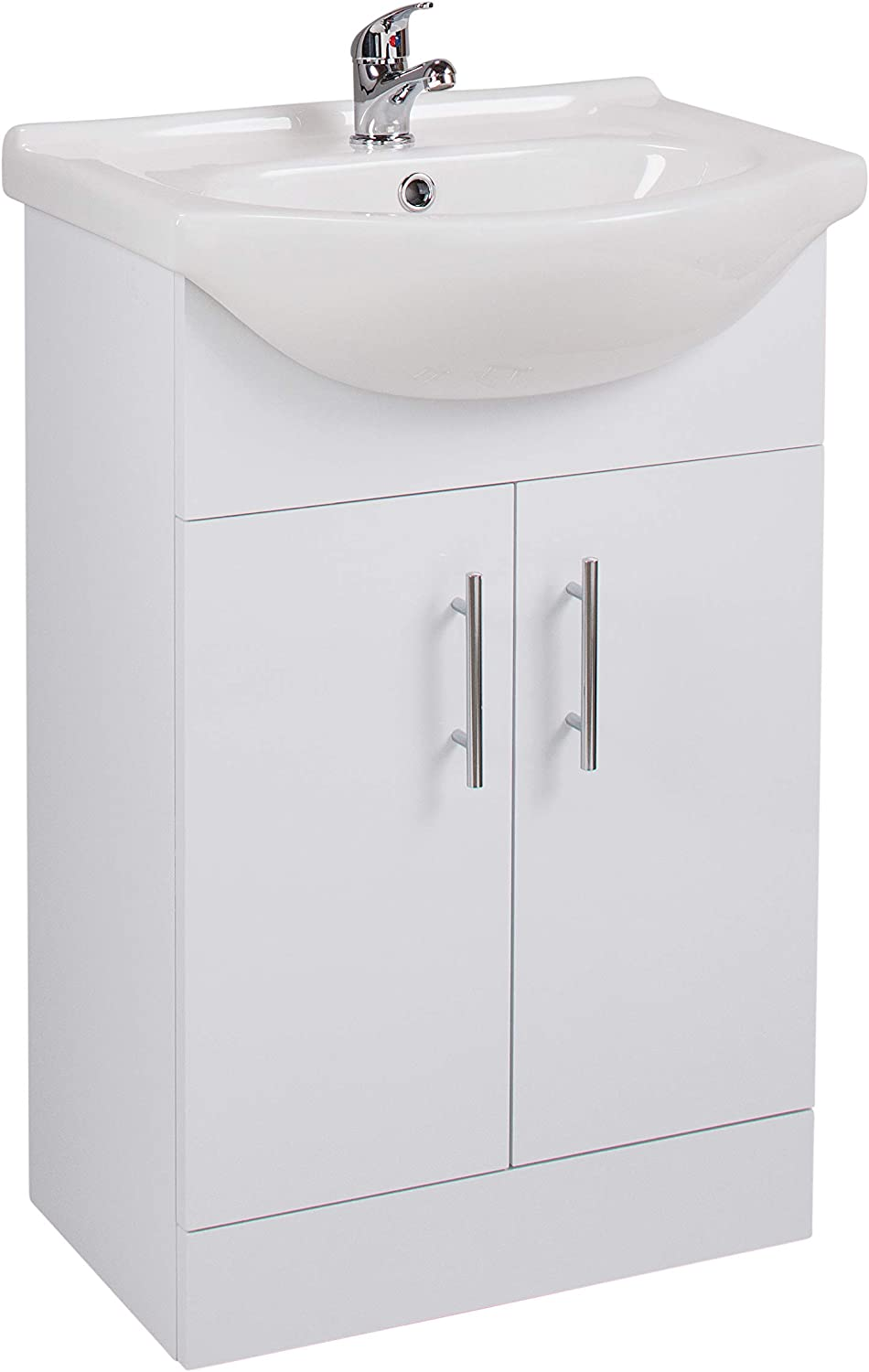 550mm Bathrooms Vanity Unit white gloss with Basin.