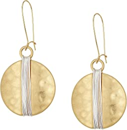 Robert Lee Morris Two-Tone Wire Wrap Sharp Hook Earrings