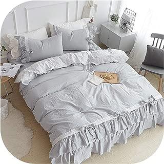 Nice Warm 100% Cotton White Pink Grey Korean Bedding Sets King Queen Twin Size for Kids Girls Ruffles Duvet Cover Bed Sheet Set Pillowcase,1,King Size 6Pcs