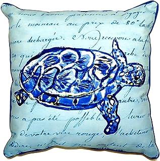 """Betsy Drake SN344 Sea Turtle Script Pillow, 11"""" x14"""""""