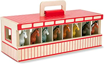 Melissa & Doug Take-Along Show-Horse Stable Play Set (Pretend Play, Encourages Creative Learning, 8 Toy Horses)