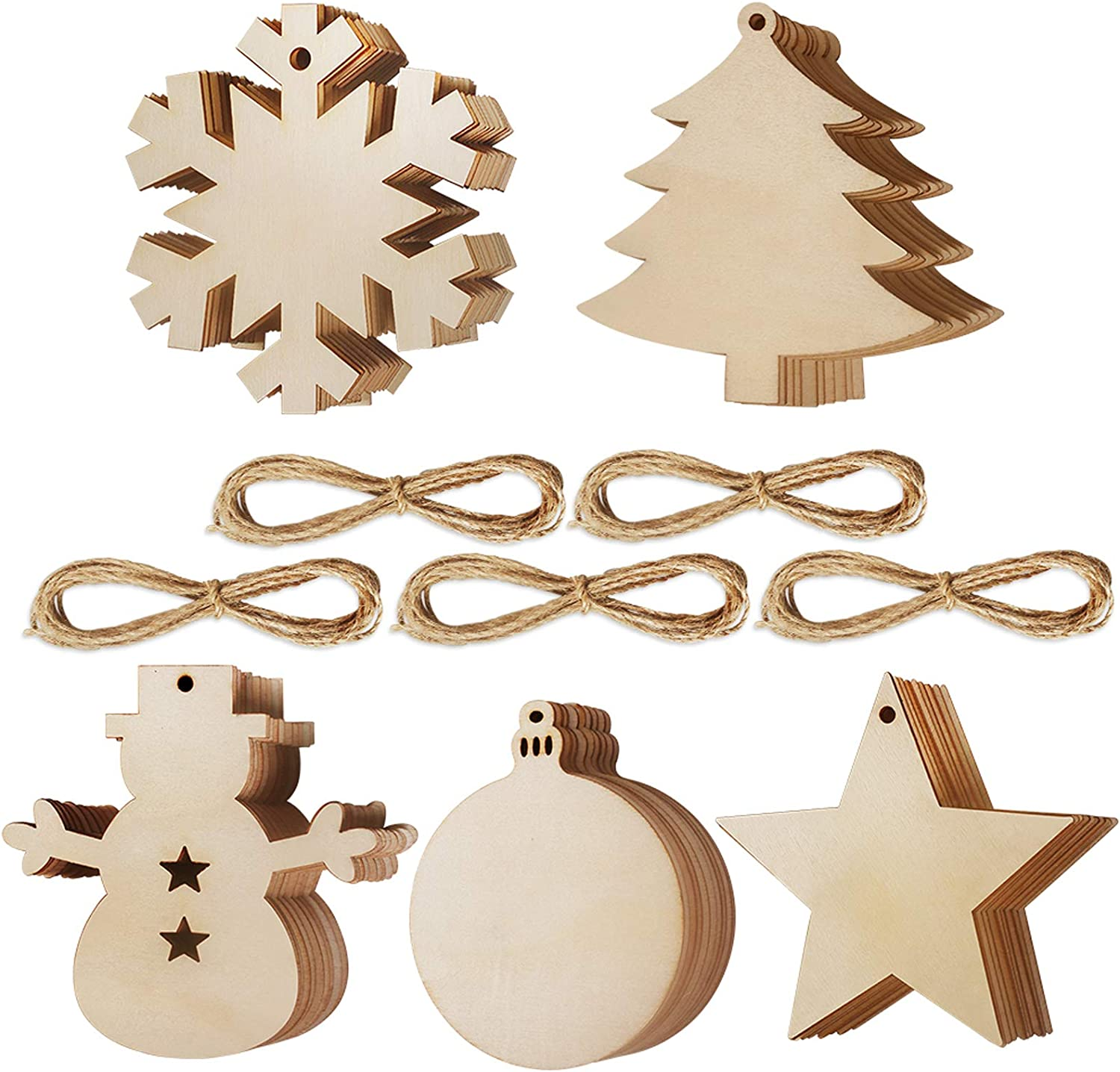 20 Pcs Wooden Christmas Ornaments Unfinished Wood Hanging Ornament Slices  with Hole for Christmas Party Decorations, DIY Crafts