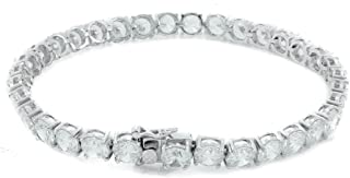 Bling Bling NY New 1 Row Tennis Necklace/Bracelet Silver Finish Lab Created Diamonds 6MM Solitaires