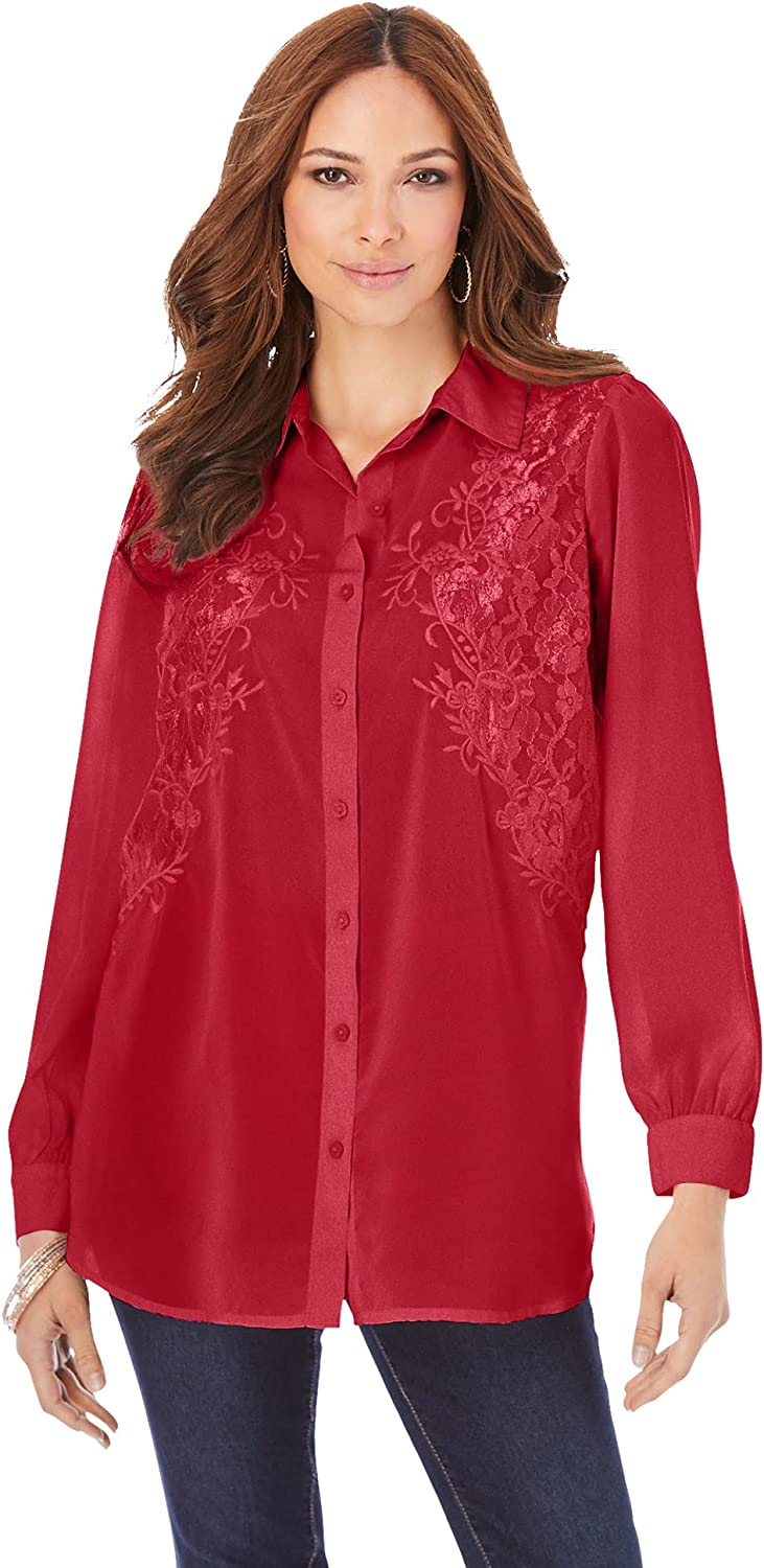Roamans Women's Plus Size Embroidered Georgette Blouse