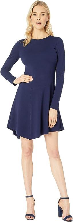 Ponte A-Line Dress with Asymmetrical Hem