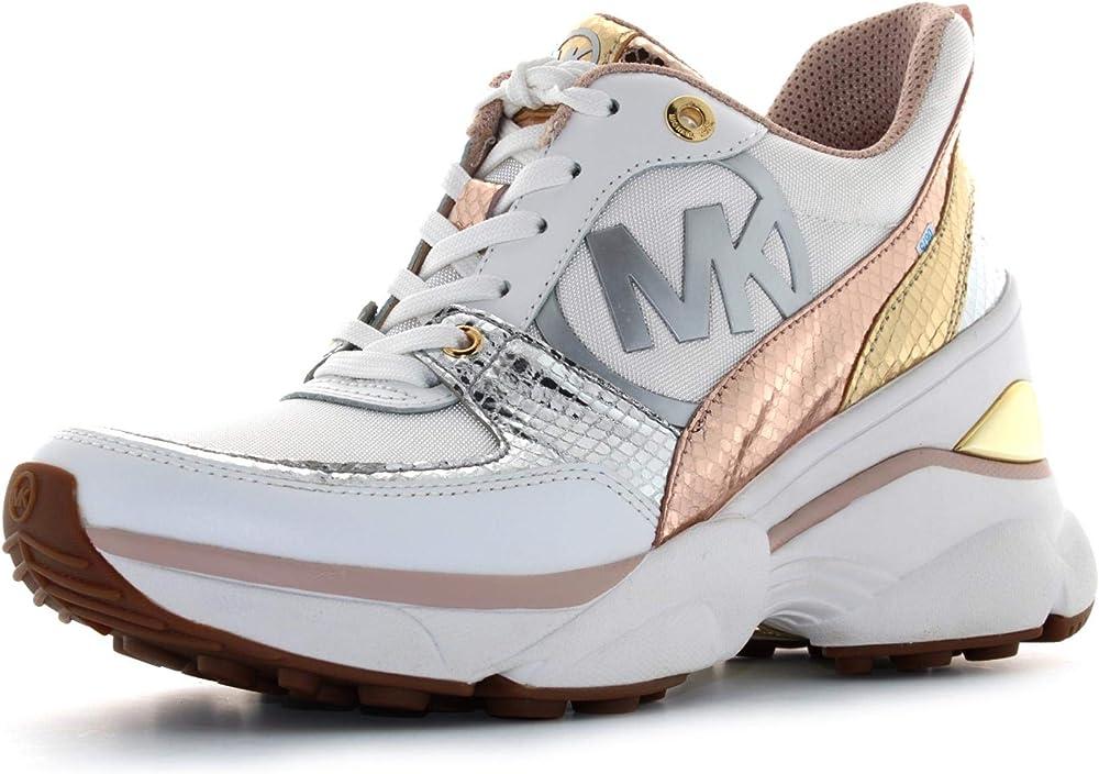 Michael kors, sneakers,scarpe sportive per donna,in pelle e tela,taglia 37,5 eu 43R0MKFS3D