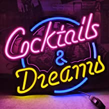 Cocktails & Dreams LED Neon Sign Art Wall Lights for Beer Bar Club Bedroom Windows Glass Hotel Pub Cafe Wedding Birthday P...