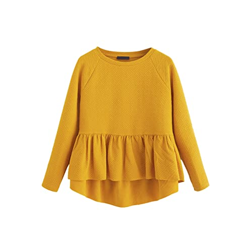 56ea0d738f4c SheIn Women's Loose Round Neck Raglan Long Sleeve Ruffle High Low Hem Smock  Top