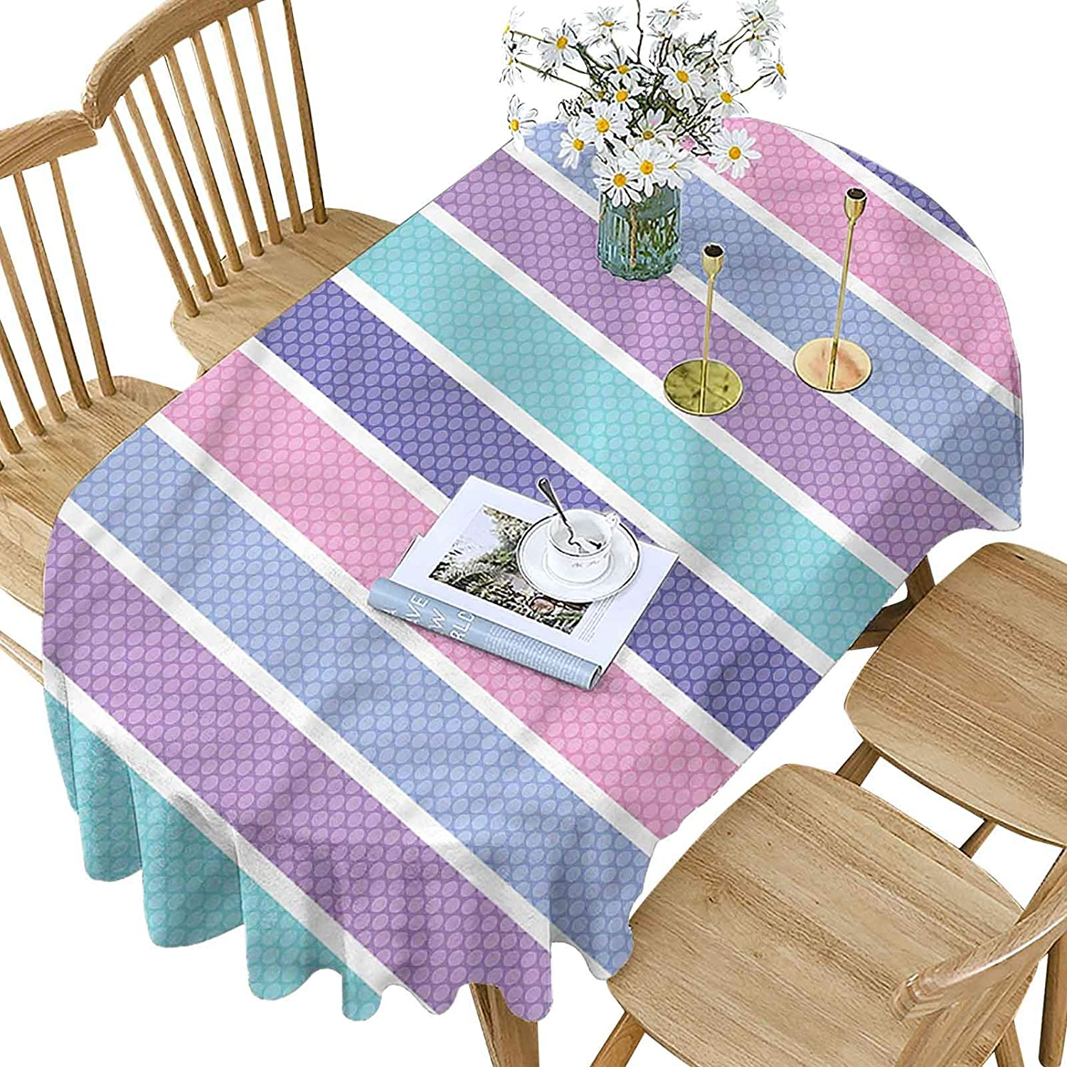Pastel Super sale Polyester Oval Tablecloth Polka Pattern Limited price Dot Stripes with