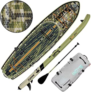 BOTE Rackham Aero Inflatable Stand Up Paddle Board for Fishing, SUP with Accessories   Pump, Paddle, Fin, Travel Bag, Verge Camo