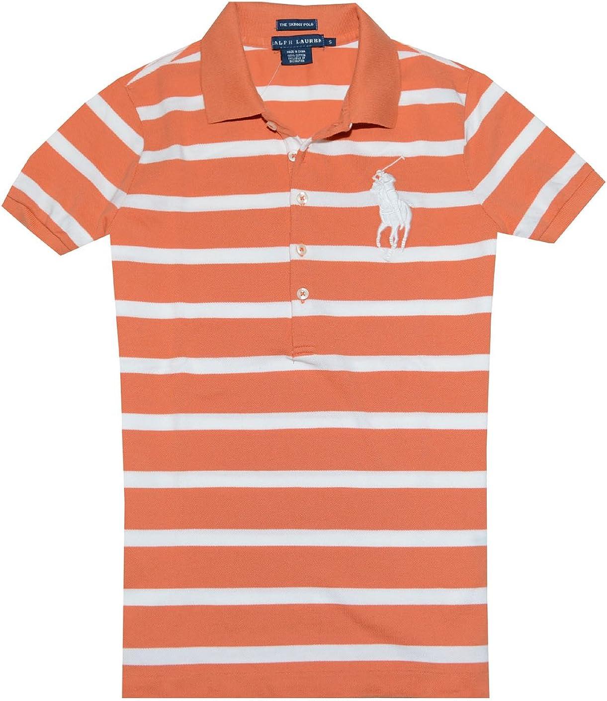 Ralph Lauren Polo Skinny Womens Big Pony Short Sleeve Shirt Orange