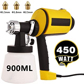 Paint Sprayer, Electric Spray Gun High Power HVLP Home Electric Paint Sprayer with 3 Spray Patterns, 3 Nozzle Sizes, 900ML Detachable Container (450W)