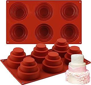 Mity rain 6 Cavities Mini 3 Tier Cake Silicone Pan - Multi Tiered Cupcake Mold DIY Round Cupcake Pudding Cookie Chocolate ...