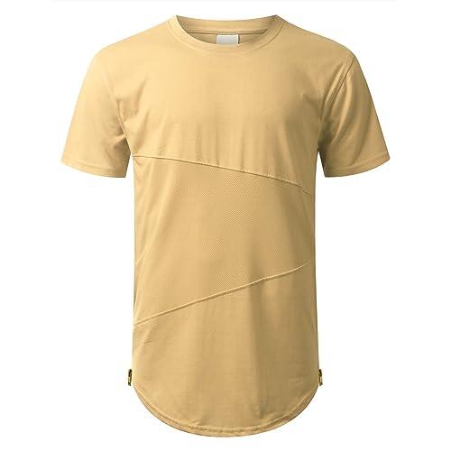 37b47f6f URBANCREWS Mens Hipster Hip Hop Lightweight Casual Longline T-Shirt