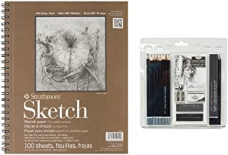 Royal & Langnickel Essentials Sketching Pencil Set, 21-Piece with Strathmore Series 400 Sketch Pads 9 in. x 12 in. - pad o...