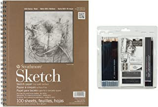 Royal & Langnickel Essentials Sketching Pencil Set, 21-Piece with Strathmore Series 400 Sketch Pads 9 in. x 12 in. - pad of 100