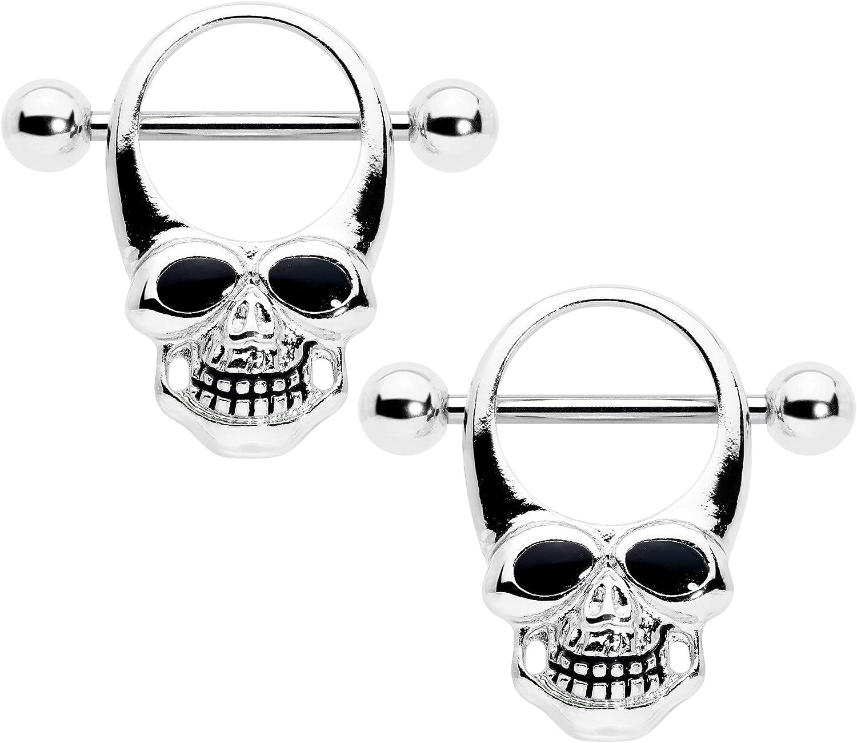 Body Candy 2Pc 14G Nipplerings Piercing Womens 316L Steel Grin Skull Nipple Shield Nipple Ring Set 1/2
