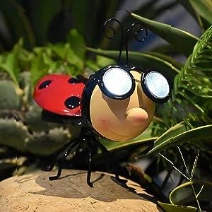 Outdoor Solar Animal Lights Ladybug Statue with LED Light Metal Ladybug Garden Decoration Courtyard Lawn Art Ornaments (Ladybug)
