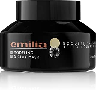 Emilia Remodeling Red Clay Mask - Hypoallergenic Kaolin Mineral Sculpting Face Mask - Pore Shrinking Skin Brightening Mud Mask - Best Cleansing Purifying Spa Facial Mask for Mature Skin 3.3 fl.oz.