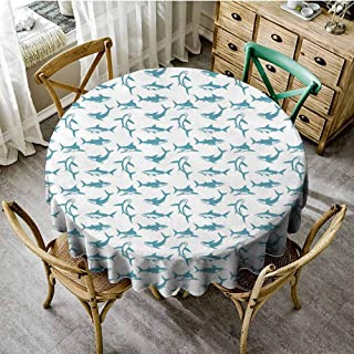 Shark Dinning Tabletop Decoration Scary Predators of The Seas Blue Fishes with Fins and Sharp Teeth Marine Cartoon Patio Round Tablecloth Blue White Diameter 36