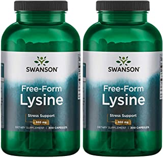 Swanson Free-Form L-Lysine 500 mg 300 Caps 2 Pack