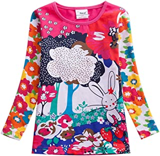 JUXINSU Toddler Girl Long Sleeve t-Shirt Cotton Point for 2-7 Years F2101