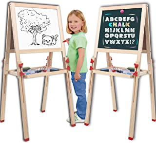 Wondertoys Adjustable Standing Art Easel with Whiteboard and Chalkboard Easels for Kids Drawing Board Toddlers Gifts