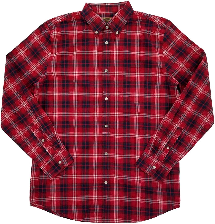 Mens Big & Tall Red & Blue Plaid Button-Down Long Sleeve Shirt