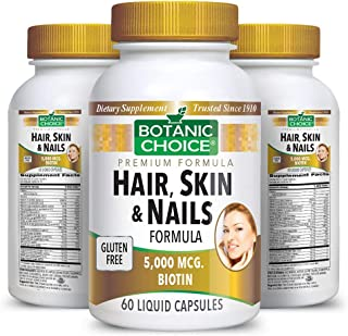 Sponsored Ad - Botanic Choice Hair, Skin & Nails Formula - Adult Daily Supplement - Delivers Vital Nutrients Promoting Bea...