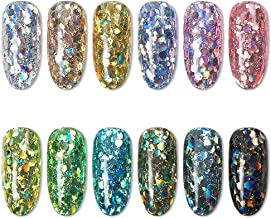 Erwazi Nail Art Chrome Pigment Powder Kit, 8/12 Boxes Peacock Holographic Glitter Mirror Effect Metallic Sequins Flakes Colorful Stickers Manicure Pigment Rainbow Eyeshadow