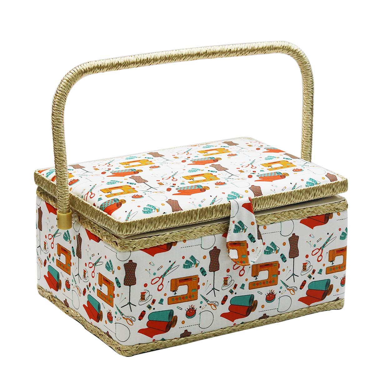 D&D Caja de costura con utensilios de costura, kit de costura organizador para el hogar y el uso diario large naranja: Amazon.es: Hogar
