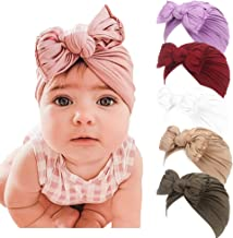 baby shower gift Stretchy Top Knot or Bow Baby Turban Hat Head Wrap Toddler Stretchy Turban for Women in chemo new mom Black Newborn