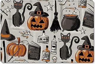 Meet 1998 Leather Doormat Halloween Pumpkin Hat Black Cat Broom Non-Slip Rubber Floor Mats Retro Durable Outdoor Entrance ...