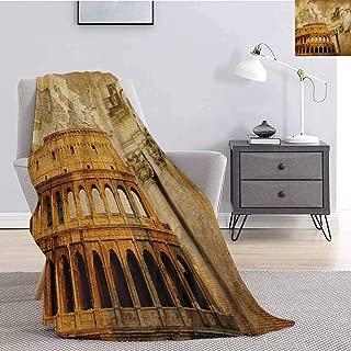 Luoiaax Retro Flannel Fleece Throw Blanket Roman Empire Concept Famous Columns Sculptress Colosseum Map of The Nation Print Super Soft Cozy Queen Blanket W60 x L80 Inch Orange Brown