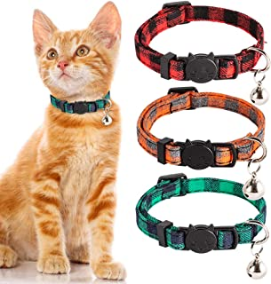PUPTECK Cat Collar with Bell - 3 Pack Plaid Breakaway Cat Collar Set,  Adjustable Safety Puppy Collars, Orange Red Green