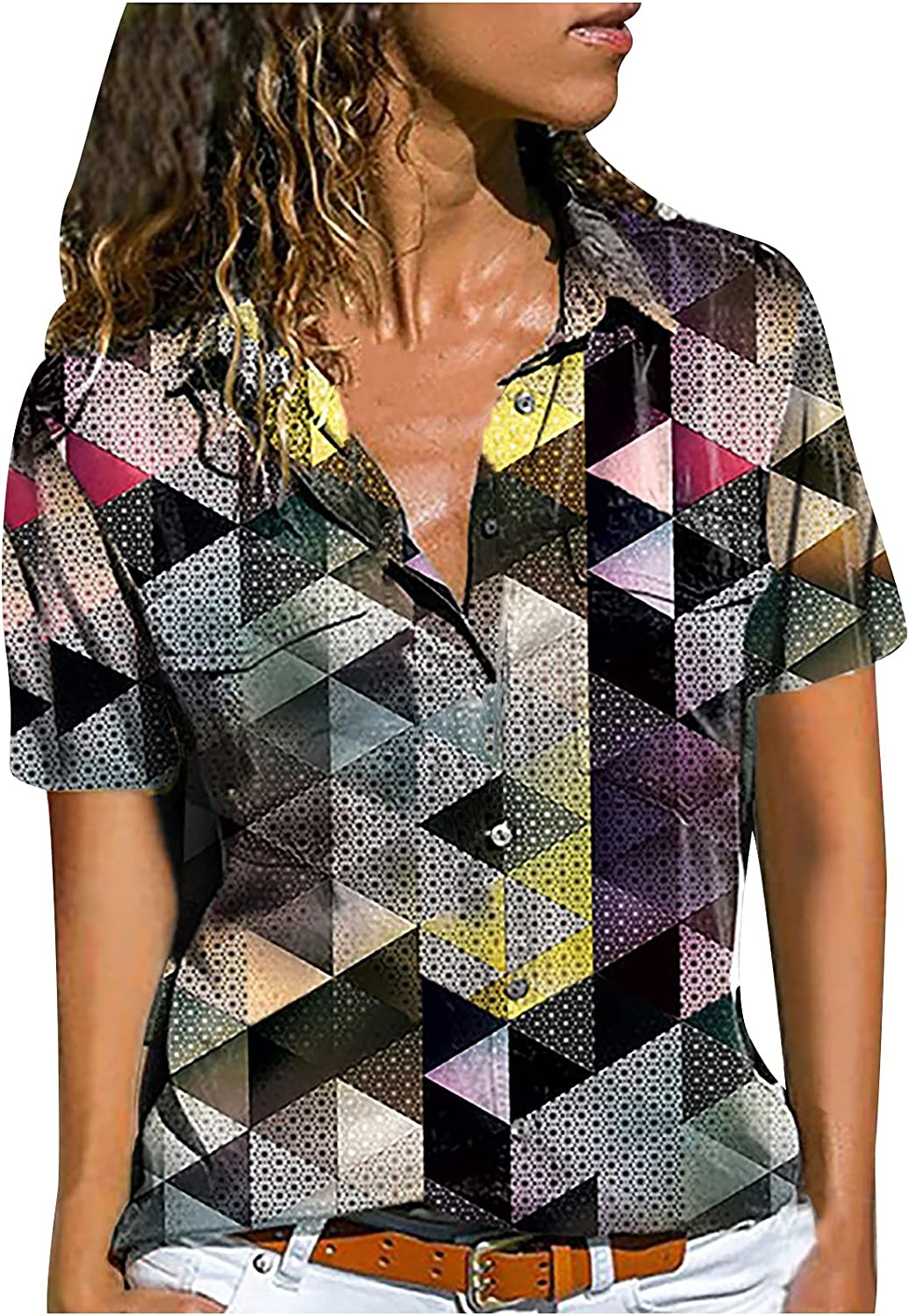 Women's T-Shirts Button Down Shirts Color Block Patchwork Plaid Short Sleeve V Neck Tops Summer Blouses for Women