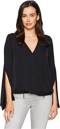 Wrapped Front Flouncy Sleeve Top