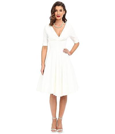 Unique Vintage 3/4 Sleeve Delores Swing Dress (Ivory) Women