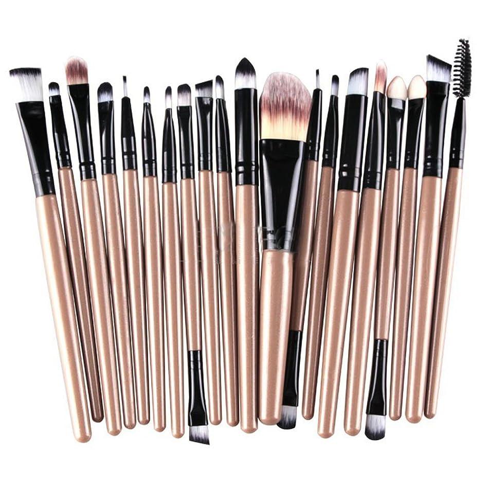 Kolight20 Pcs Pro Makeup Set Powder Foundation Eyeshadow Eyeliner Lip Cosmetic Brushes (Brown+Black)