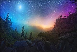 BuEnn 10x7ft Jesus Christus Hintergrund Berggipfel Sternenhimmel Fotografie Hintergrund Kreuzigung Heilige Lichter Lord Pray Religiöser Glaube Hintergrund Fotostudio Requisiten